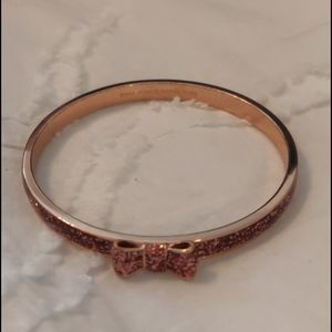 Kate Spade Pink Rose Gold Sparkle Bow Bangle